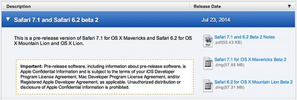 510 Safari 7.1 beta2 发布 Safari 7.1 beta2下载