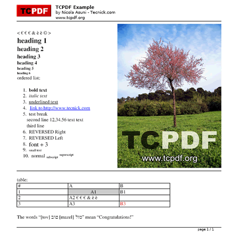 69 TCPDF 6.0.091 发布下载   PHP 的 PDF 库