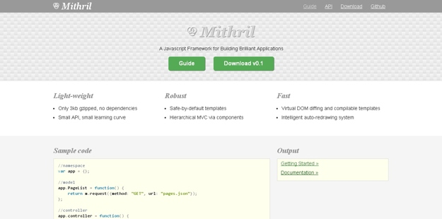 %name Mithril 0.1.21发布下载  JavaScript  MVC 框架