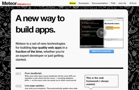 51 Meteor 1.0 发布,Web 应用构建平台