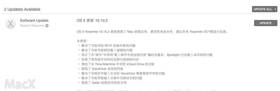 125 Mac OS X 10.10.2 正式发布 WiFi 修复