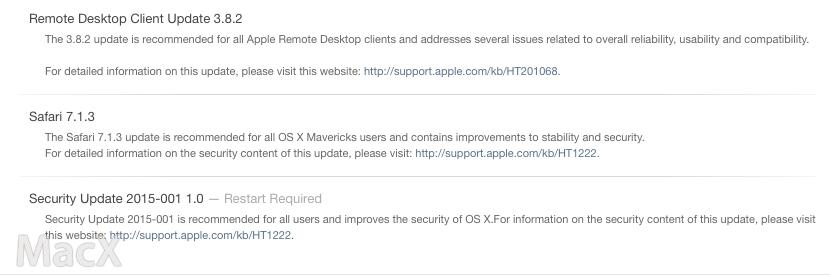 130 苹果为旧 OS X 系统发布 Safari 和系统安全更新