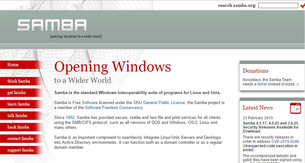 Samba Samba 4.1.17/4.0.25/3.6.25发布 安全更新版本