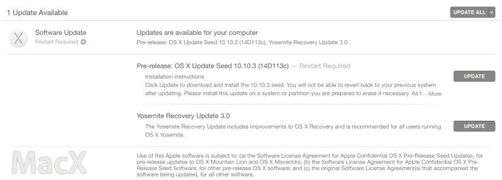 116 苹果向开发者发布 OS X 10.10.3 第五个测试版
