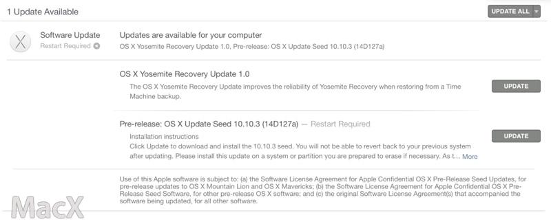 122 苹果发布 OS X 10.10.3 Beta 6, 版本号 14D127a