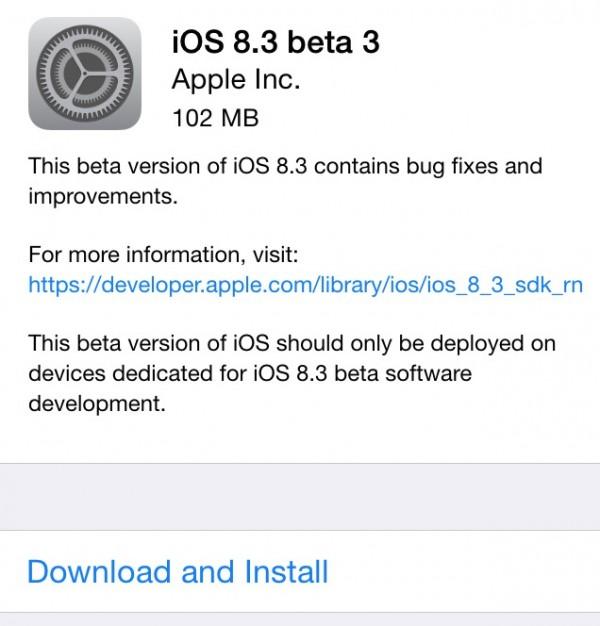 13073047 PdOA 苹果今日发布 iOS 8.3 beta3 版