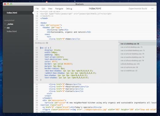 Adobe Brackets Adobe Brackets 1.2发布 跨平台文本编辑器