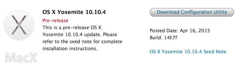 17083502 mELN 苹果向开发者发布 OS X 10.10.4 第一个测试版
