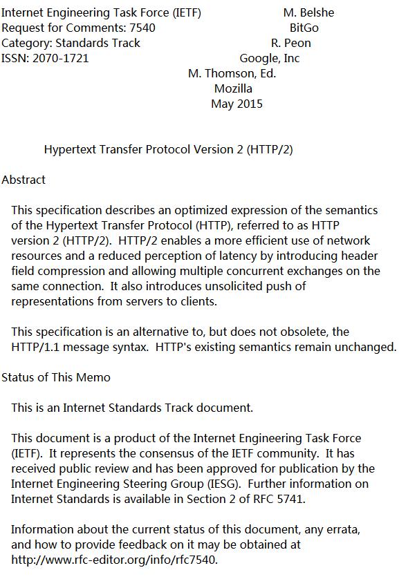 15145024 jurL HTTP/2 规格正式发布 RFC 编号为 7540