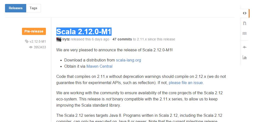 Scala 编程语言 Scala 2.12.0 M1 发布