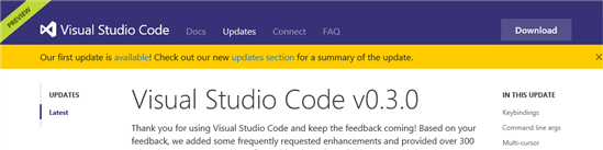 190000 T9P5 865233 Visual Studio Code 0.3.0 发布 首次更新