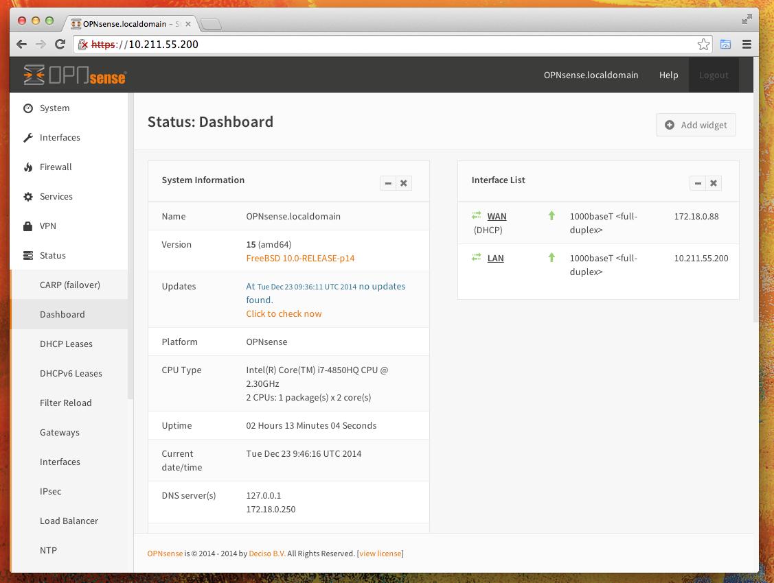 OPNsense OPNsense 15.1.11.3 发布 防火墙和路由平台