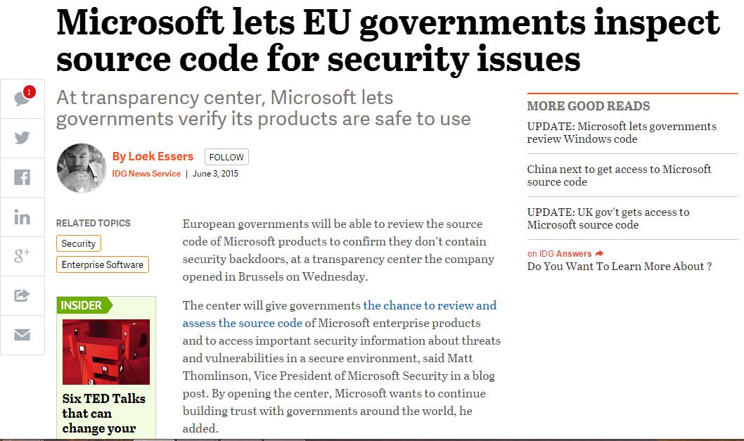 we 微软允许欧洲政府检查其软件的源代码
