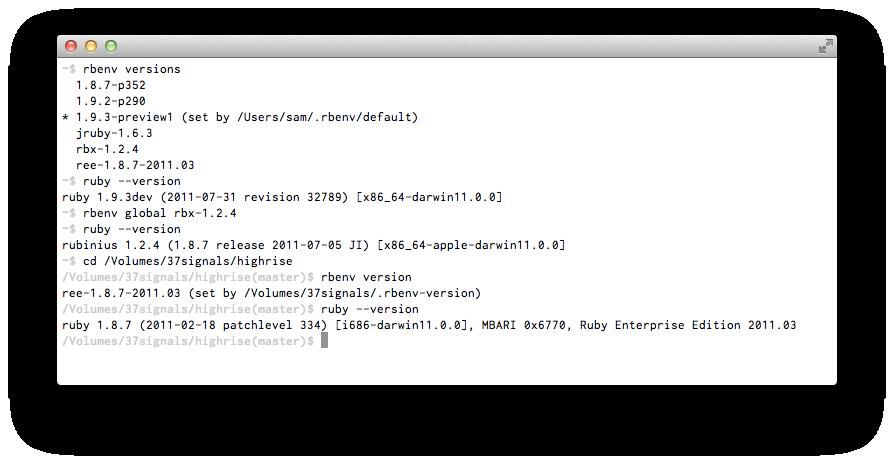 rbenv rbenv 1.0 发布 Ruby 版本管理工具