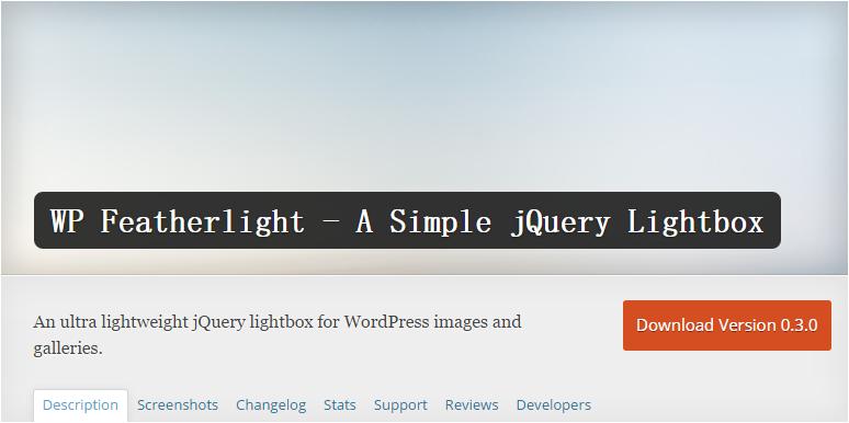 j11 wordpress灯箱插件推荐之WP Featherlight