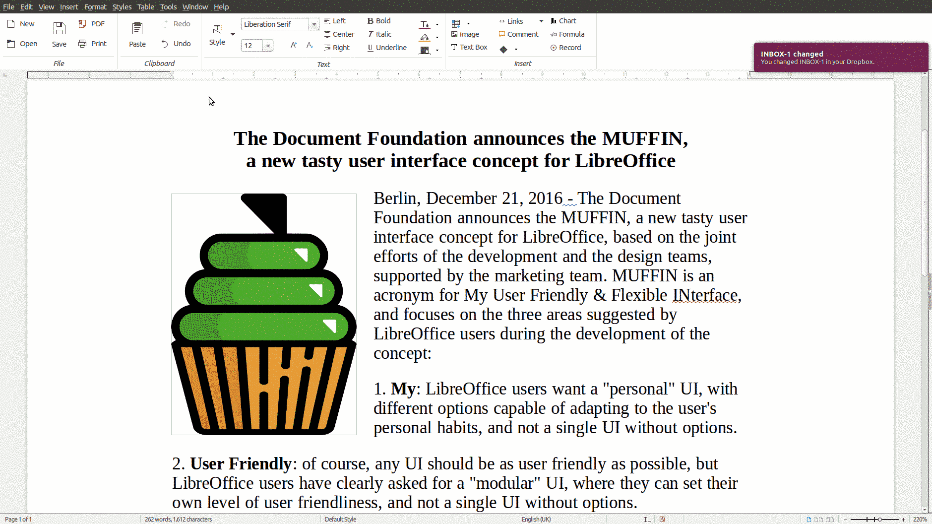 LibreOffice LibreOffice 宣布新用户界面 MUFFIN