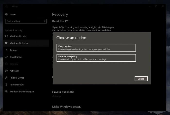 073841 2PVG 2903254 微软确认周二更新补丁破坏了 Windows 10 重置功能