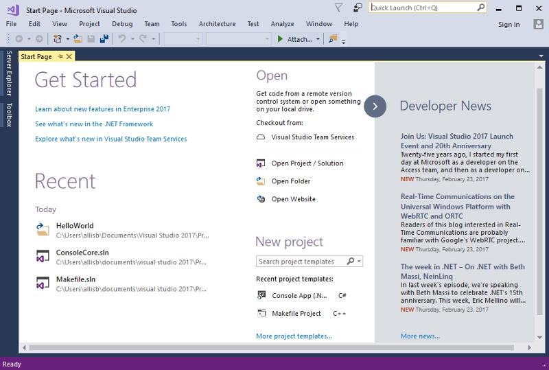 7 最强 IDE Visual Studio 2017 正式版发布