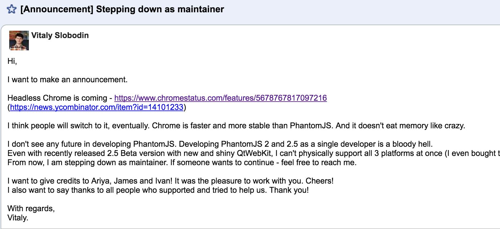 151929 QhvJ 2896879 PhantomJS 核心开发者宣布退出,项目或面临困境