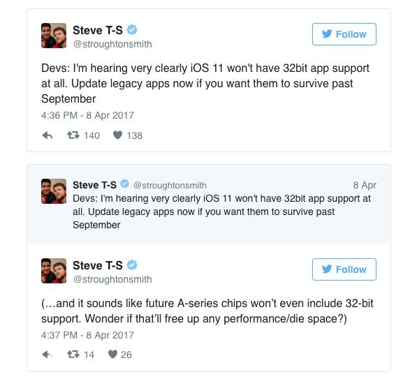 53453 iOS 11 将完全停止支持 32 位应用