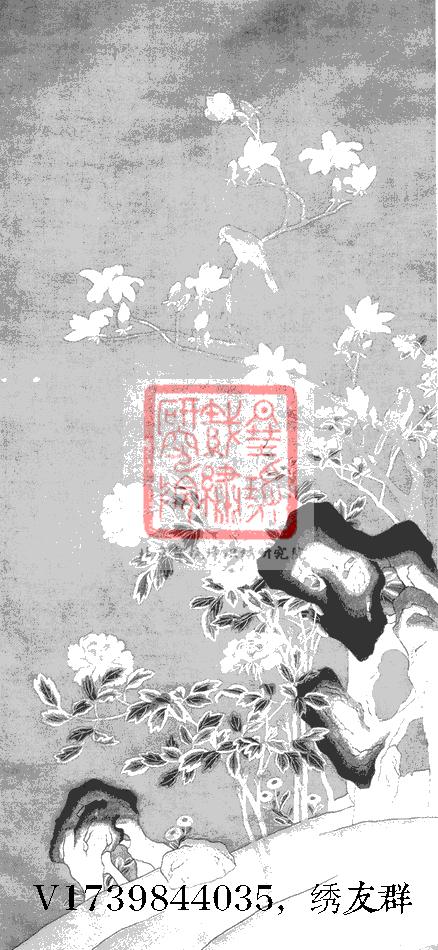 图2 2 2 10 倪仁吉刺绣《春富贵图》(现藏义乌市博物馆) 中国历代刺绣名家之倪仁吉