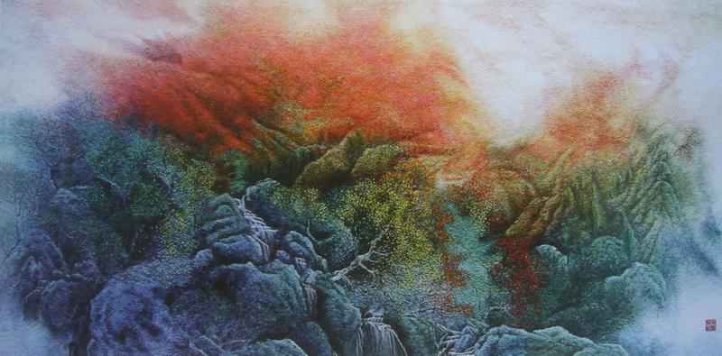 图5 1 13 喷绘底刺绣山水 当代刺绣有哪些创新?