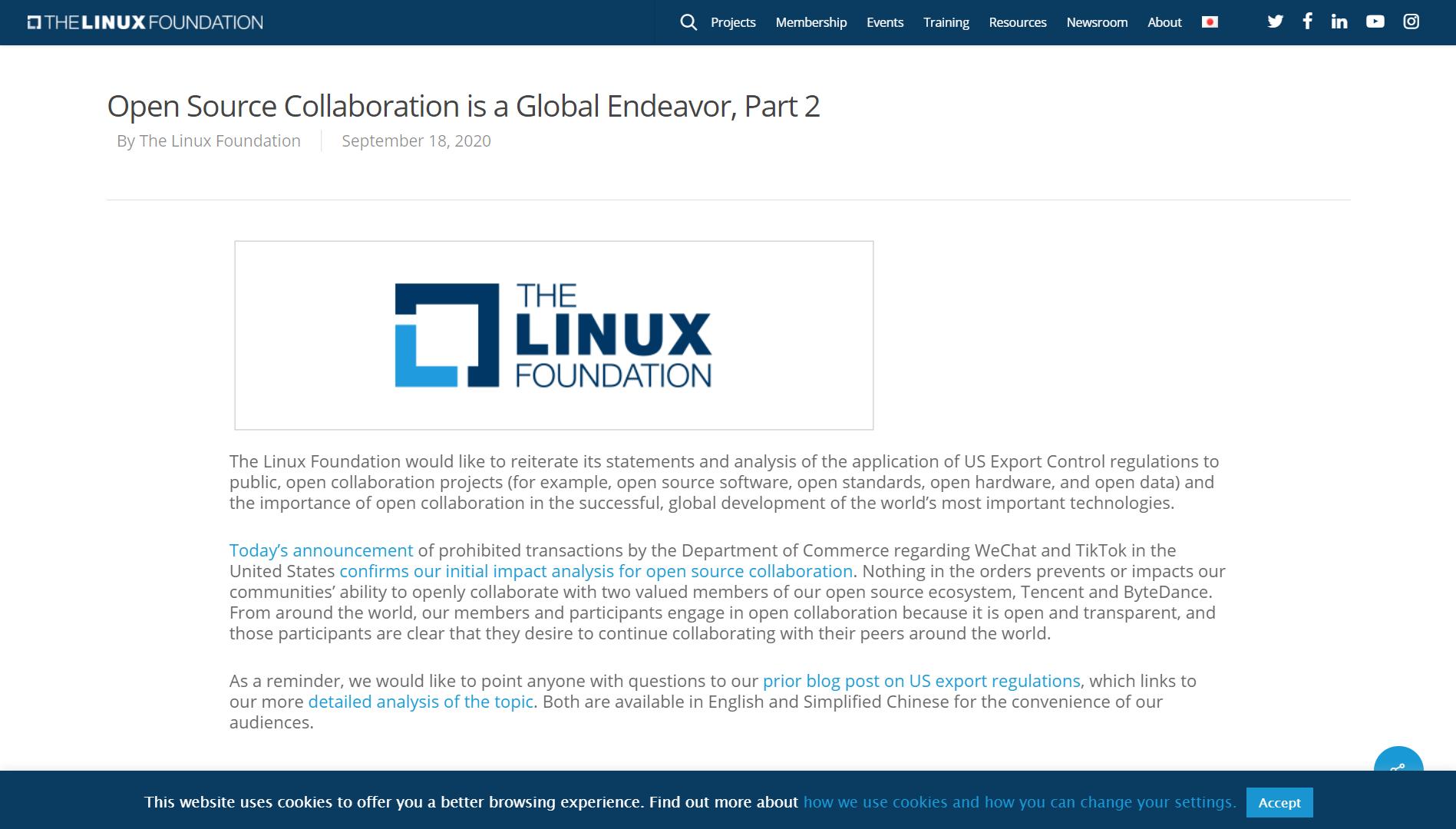082728 9XY9 4105562 Linux 基金会评微信和 TikTok 被封禁一事:开源协作需要全球努力